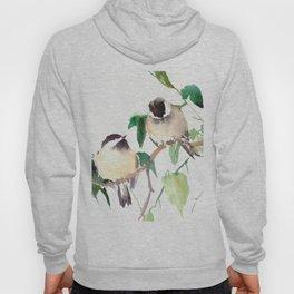 Chickadees, birds on tree, bird design neutral colors Hoody