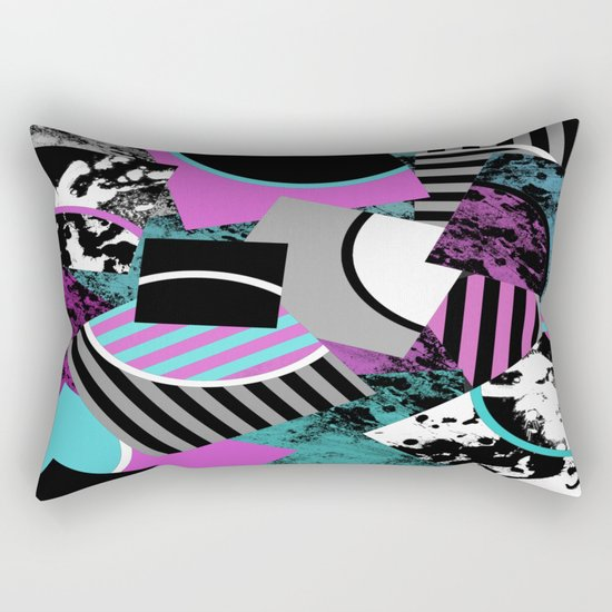 Cluttered Sqaures - Abstract, geometric, stripes, pink, cyan, blue, textured, black, white, arcs Rectangular Pillow
