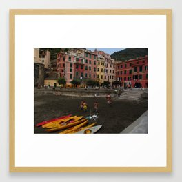 Soccer players, Vernazza, Cinque Terre, Italy Framed Art Print