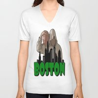 boston V-neck T-shirts featuring BOSTON  by Robleedesigns