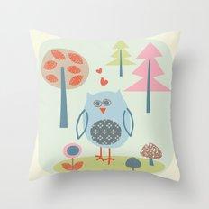 Bird in the Woods Throw Pillow