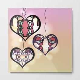 Ornament hearts Metal Print