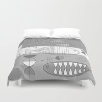 mid century modern Duvet Covers featuring Mid-Century Modern Fish by Kippygirl