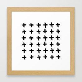 Black and white cross pattern. Modern. Scandinavian. Framed Art Print