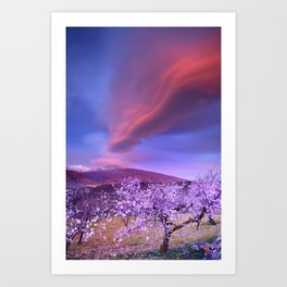 Lenticular clouds over Sierra Nevada and almonds Art Print