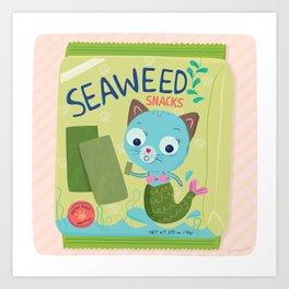 Purrmaid Seaweed Snacks Art Print