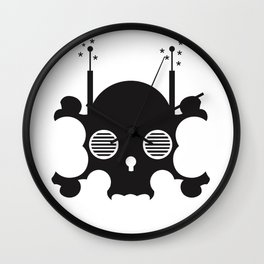 mindless digital skull - black Wall Clock