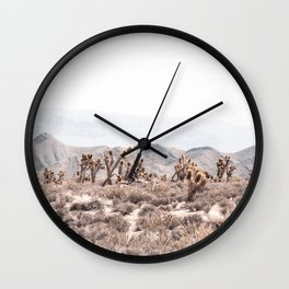 Joshua Tree // Vintage Desert Landscape Cactus Southwest Mountains Wall Clock