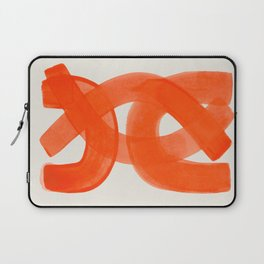 Mid Century Modern Abstract Painting Orange Watercolor Brush Strokes Laptop Sleeve