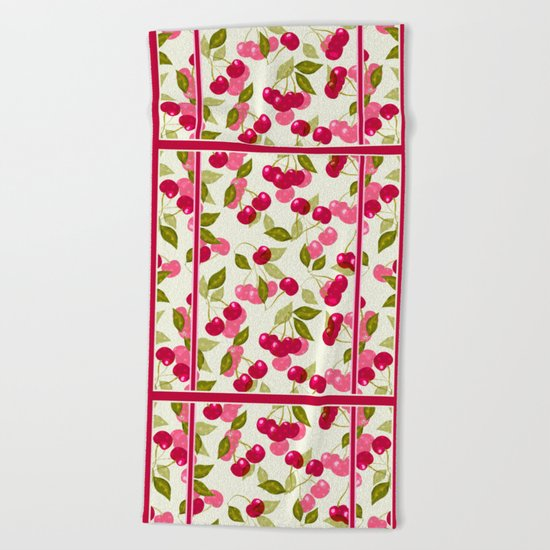 Mature Cherry. Retro. Retro design . Beach Towel