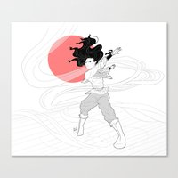 bender Canvas Prints featuring Water Bender by Rach-Draws