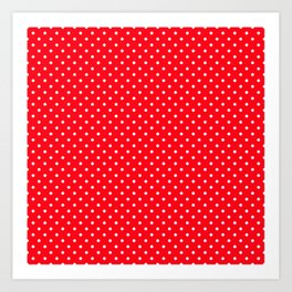 Small Carmine Red with White Polka Dots Art Print