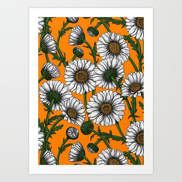 Daisies on orange Art Print