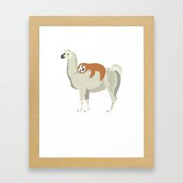 Cute & Funny Sloth Sleeping on Llama Framed Art Print