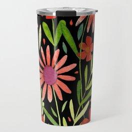 Flower Burst Orange and Black, floral pattern design Travel Mug