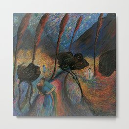 Die Blaue Reiterin - The Star-crossed Lovers landscape painting by Marianne Von Werefkin Metal Print