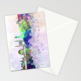 Hyderabad skyline in watercolor background Stationery Cards