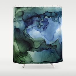 Blue Green Waves Abstract Ink Painting Shower Curtain