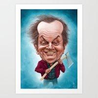 jack nicholson Art Prints featuring Jack Nicholson caricature by Jordygraph