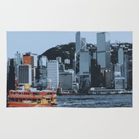 hong kong Area & Throw Rugs featuring Star Ferry Hong Kong by Phil Smyth