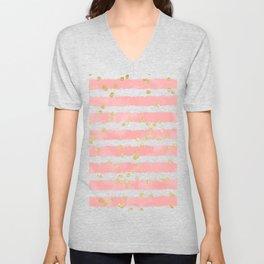 Modern blush pink watercolor stripes gold confetti pattern Unisex V-Neck