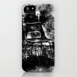 chair at lost place splatter watercolor black white iPhone Case