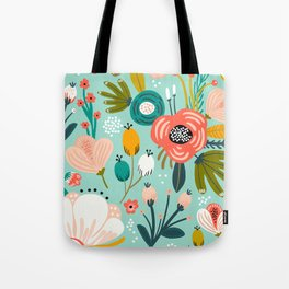 Mid-Century Modern Floral Print With Trendy Leaves Tote Bag