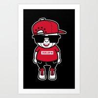 hiphop Art Prints featuring 30Billion - Hiphop Bear 02 by 30Billion