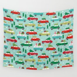 Christmas car tradition christmas trees holiday pattern winter festive Wall Tapestry