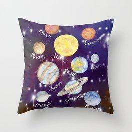 Planets Names Set Illustration Throw Pillow