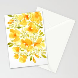 Watercolor California poppies (Quad set, #3) Stationery Cards