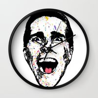 american psycho Wall Clocks featuring American Psycho by CultureCloth