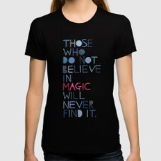 Believe in magic... Black LARGE Womens Fitted Tee