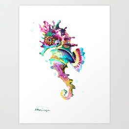 Seahorse , multi colored sea world animal art, design, cute animal art beach Art Print