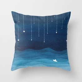 Falling stars, blue, sailboat, ocean Throw Pillow