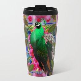 GREY COLOR PINK ROSES &  GREEN PEACOCK ART Travel Mug