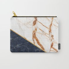 Classy Elegant White Blue Gold Marble Carry-All Pouch