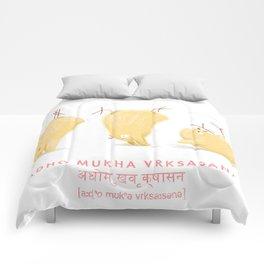 Adho Mukha Vrksasana Chicken Yoga Comforters