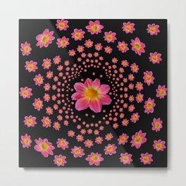 Pink Dahlia Explosion Metal Print