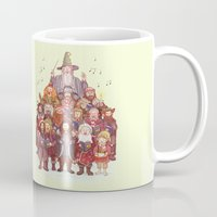 middle earth Mugs featuring The loudest carollers in Middle Earth by Alicia MB