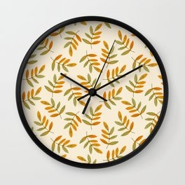 Autumn rustic green brown watercolor leaves pattern Wall Clock