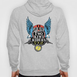 Two Kiwi Riders • Classic Winged Helmet Logo • Color Hoody