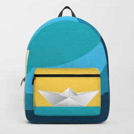 Paper boat in the sea Backpack