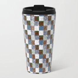 Rustic Brown Gray Blue Patchwork Travel Mug