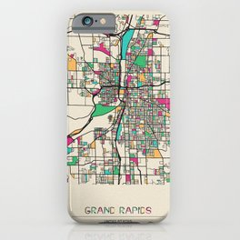 Colorful City Maps: Grand Rapids, Michigan iPhone Case