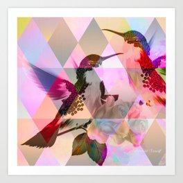 Geometric, pastel, bird print Art Print