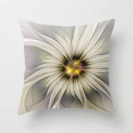 Blossom, Abstract Fantasy Flower Fractal Art Throw Pillow