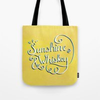 whiskey Tote Bags featuring Sunshine & Whiskey by Yellow 13