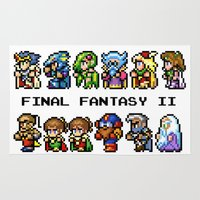 final fantasy Area & Throw Rugs featuring Final Fantasy II Characters by Nerd Stuff