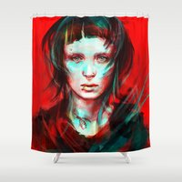 dark Shower Curtains featuring Wasp by Alice X. Zhang